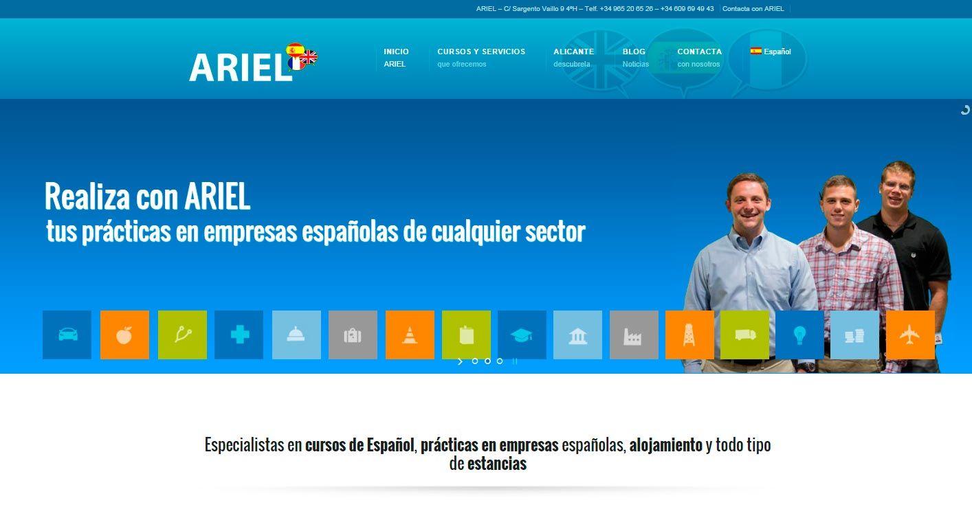 Nueva web Bonnie&Click para Ariel, ¡¡ cursos de español y prácticas en empresas !!