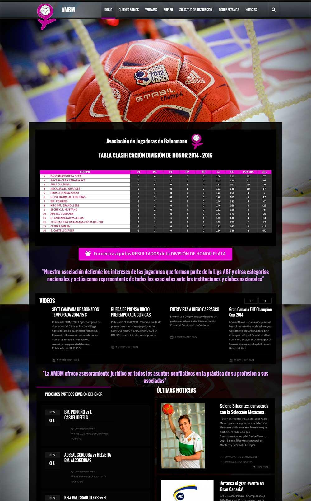 Nueva web Asociación Nacional de Jugadoras de Balonmano. www.ambm.es